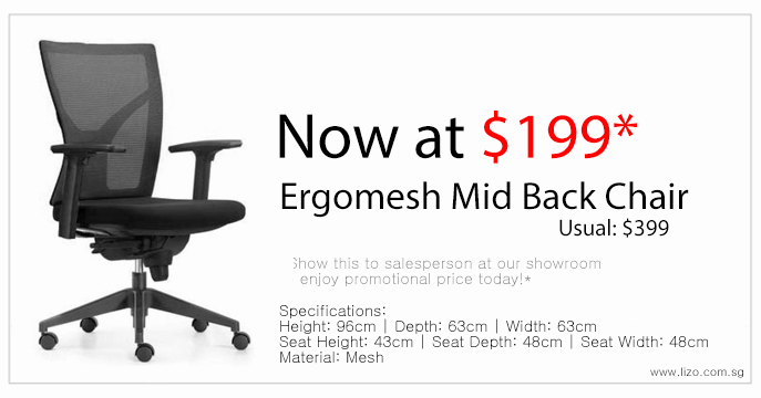 Lizo Office Furniture Ergomesh Mid Back Chair Promotion